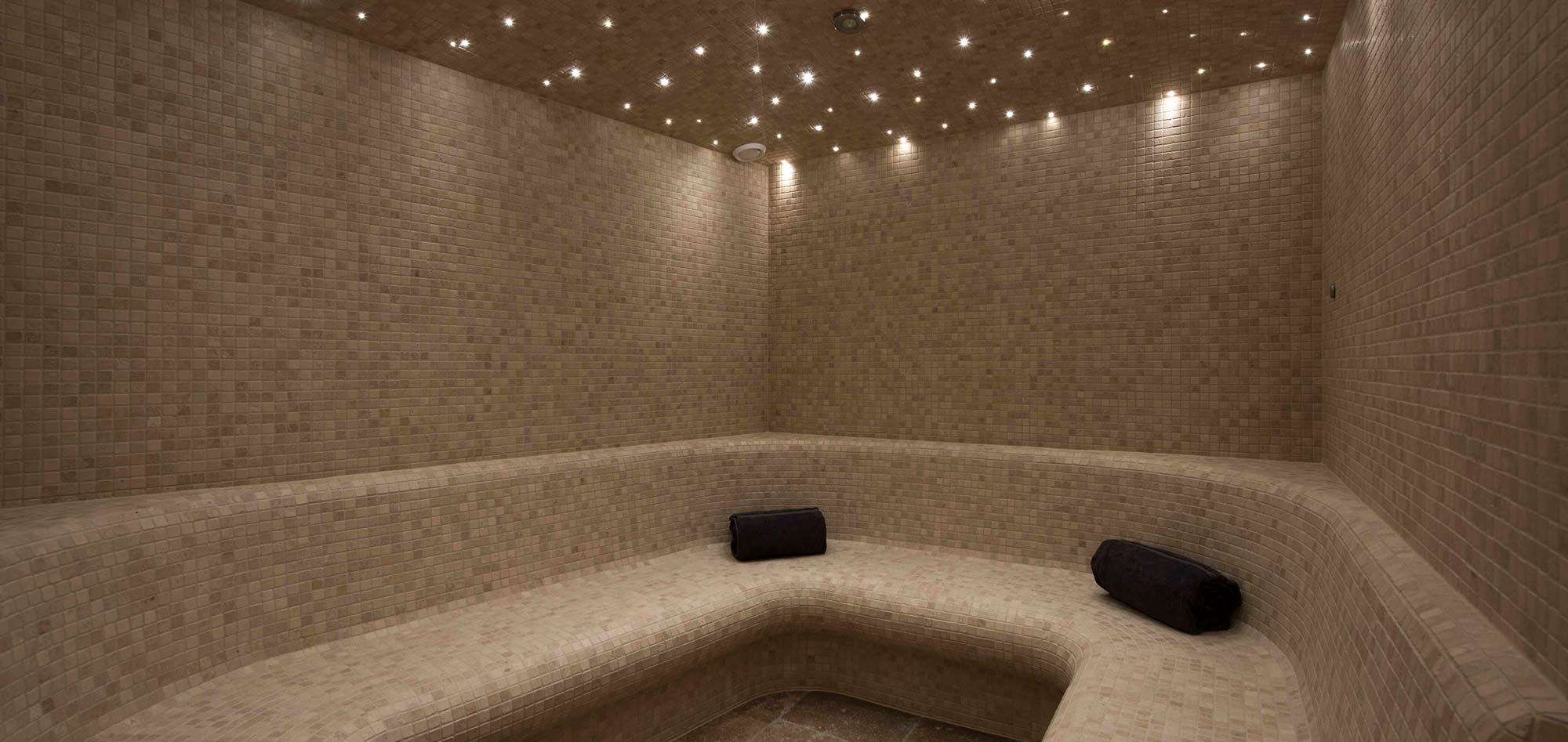 tiled hammam with star effect ceiling lights