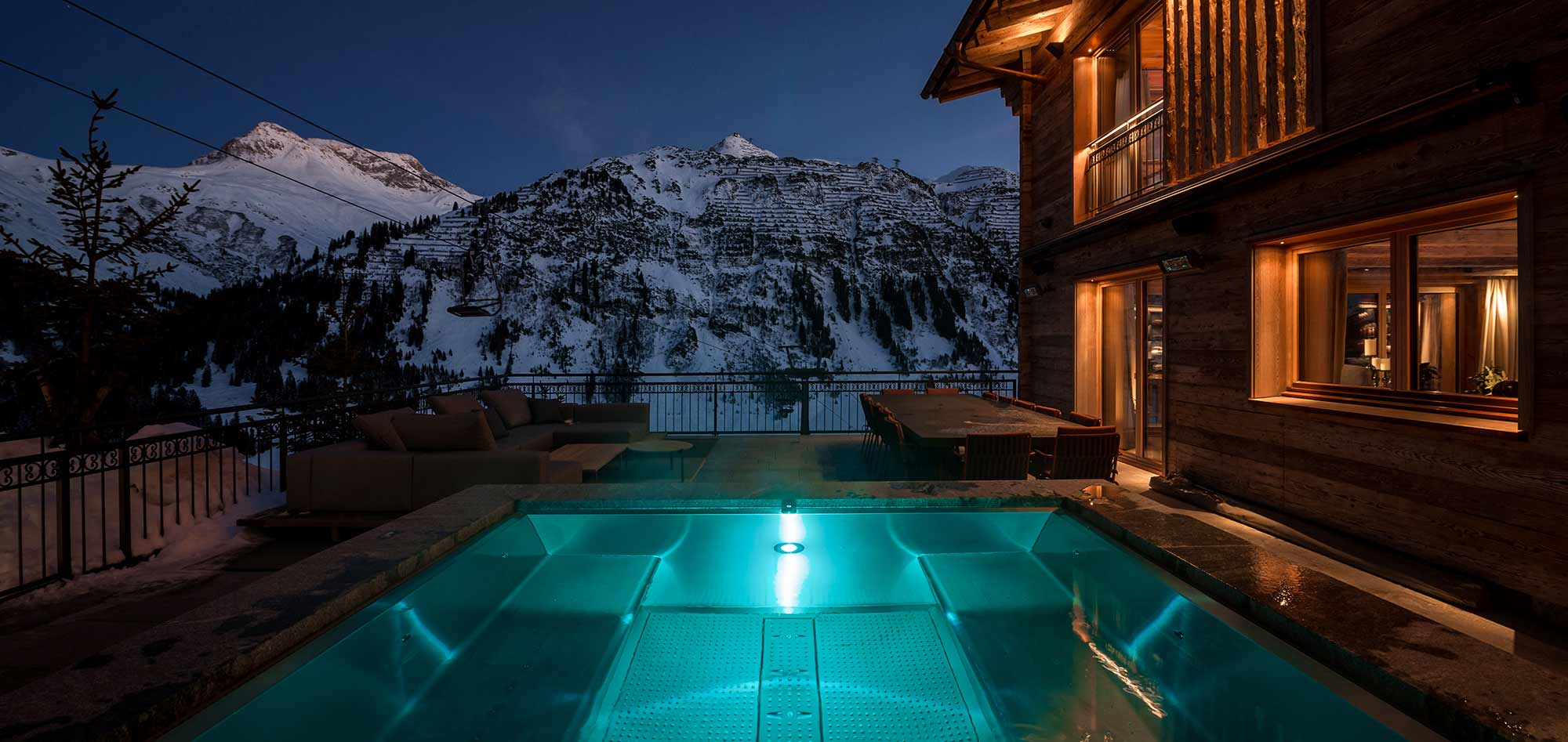 outdoor hot tub mountain view evening
